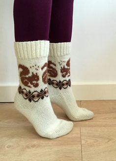 Cable Knit Socks, Knitting Socks, Fall Socks, Fair Isle Pattern, Squirrels, Knit Sock Pattern, Knitting Projects, Awesome Socks, Ship