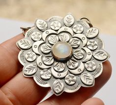 Large Mandala Style Pendant Handmade in Silver Moonstone
