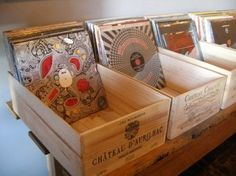 Wine crates used to store vinyl records: