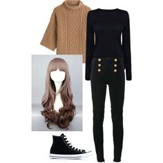 Mystic messenger : MC by the-mighty-fail on Polyvore featuring Helmut Lang, MaxMara, Balmain and Converse