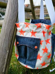 Gartentasche z.T. aus Jeans / Garden bag partly made from old pair of jeans / Upcycling