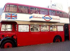 Vintage Double Decker Red Bus, Bus Stop Refreshments, in Saskatoon serves ice cream, hot dogs, popcorn, and other refreshments during the Saskatoon Summer!