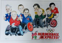 A commission Monty completed for the British Team Officials . It's a caricature of the International Team Coaches for the Paralympic Games, [Wheelchair Rugby Teams 2012]. They each received a poster copy presented to them as a memento.