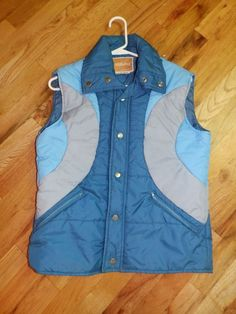 vtg 80 s blue rainbow stripe synthetic puffy ski vest mork  amp  mindy  womens medium   c1095817f
