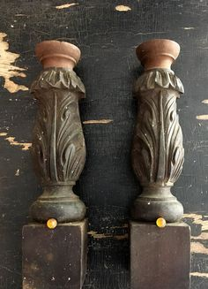 """Antique pair of wood post fragments. 12""""h each SOLD"""
