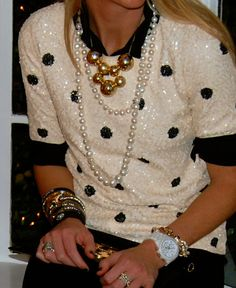 Street style fashion / karen cox. j crew sequin black and white top with pearls and necklaces - Such Good Style