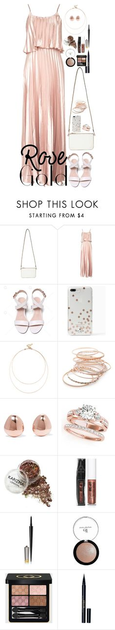 """""""Rose Gold"""" by fashion-nova ❤ liked on Polyvore featuring Miss Selfridge, Oh My Love, Kate Spade, Sole Society, Red Camel, Monica Vinader, Forever 21, Christian Louboutin, e.l.f. and Gucci"""