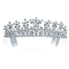 Bling Jewelry Flower Power Tiara ($23) ❤ liked on Polyvore featuring jewelry, clear, fashion-headbands, tiara, flower jewellery, bridal jewelry, rhinestone bridal jewelry, rhinestone jewelry and clear jewelry