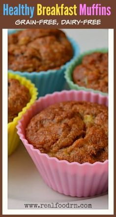 Healthy Breakfast Muffins. I make up a batch of these on Sunday and we can have them with breakfast all week. Makes busy weekday mornings so much easier and healthier! Grain free and dairy free too! realfoodrn.com #breakfastmuffins #grainfreemuffins