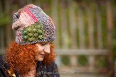 Купить Шапка Пэчворк - комбинированный, в клеточку, шапка, шапка вязаная, шапка пэчворк, пэчворк