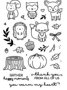 Hedgehog/animal/pumpkin/Transparent Clear Stamps for DIY Scrapbooking/Card Makin. - Hedgehog/animal/pumpkin/Transparent Clear Stamps for DIY Scrapbooking/Card Making/Kids Christmas Fu - # Bullet Journal Ideas Pages, Bullet Journal Inspiration, Diy Scrapbook, Scrapbook Supplies, Doodle Drawings, Easy Drawings, Stamp Making, Card Making, Autumn Doodles
