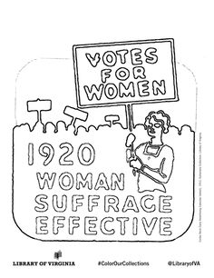 Curles Neck Dairy Advertising Calendar 1952. Print & color! The Equal Suffrage League of Virginia, organized in 1909 in Richmond, publicized & lobbied for women's issues, hoping to win the political vote. Coloring selection from the Equal Suffrage League records, as well as additional political ephemera from the Library of Virginia's Visual Studies Collection. Post with #ColorOurCollections and tag @LibraryofVA to share your creations. #history #coloring #suffrage #womenshistory 1920 Women, Ephemera, Virginia, Calendar, Coloring, Dairy, Advertising, Politics, Collections