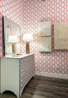 Dazzling entryway with Spoonflower wallpaper.