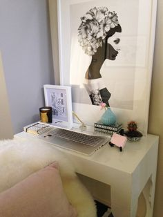Soaked in Style | Styling & Interior Design, office nook, workspace nook, creative space. Black, white and pink styling, cire trudon candle, white sheepskin, Ruben Ireland print. Find Rubens prints on http://fineartamerica.com