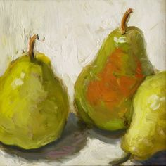 "Bartlette Pears Framed 6"" x 6"" Original Oil Painting Kitchen Art Realism Painterly Still Life Fruit Sallows"