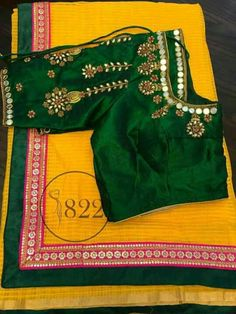 Embroidery Suits Design, Embroidery Designs, Gota Patti Saree, Pattu Saree Blouse Designs, Indian Bridal Sarees, Stylish Blouse Design, Simple Sarees, Blouse Models, Work Blouse
