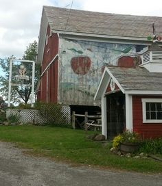 Lovely apple mural on the barn at Hicks Orchard in Washington County, NY