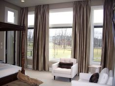Grey Silk Functioning Panels in a Master Bedroom Silk Drapes, Drapery, Curtains, Great Rooms, Modern Decor, Master Bedroom, Windows, Texture, Grey