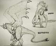 Destroyah and Gigan by artisticallyautistic.deviantart.com on @DeviantArt