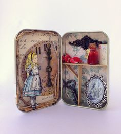 Alice in Wonderland Altered Altoid Tin -This is an Alice in Wonderland inspired assemblage art piece- Title: Altered Tins, Altered Art, Art Altéré, Mint Tins, Matchbox Art, Arts And Crafts, Paper Crafts, Tin Art, Altoids Tins