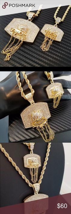 "Basket ball Hoop 5mm 30"", 4mm 24"" Rope Chain Men Two Iced out Basket ball Hoop Pendant & 5mm 30"", 4mm 24"" Rope Chain Necklace  New Arrival Brand New  Hip Hop Celebrity Style  Chain : 4mm 24"", 5mm 30"" Rope Chain  Pendant Size : Small : 28mm x 30mm, Large : 40mm x 45mm  Plated: 14K Gold Plated  Lab Diamonds on pendant    Retail Price : $69.99 Accessories Jewelry"