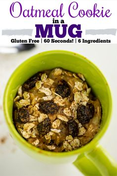 Oatmeal Cookie In A Mug is an EASY gluten free dessert made in the microwave in 60 seconds with only 6 ingredients, like banana, oatmeal, and brown sugar! #easy #mugcookie #dessert #dishingdelish #recipe #glutenfree #1minute #sweet #oatmeal #oatmealcookie