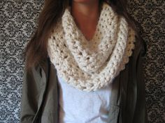 Chunky Crochet Cowl Scarf, Chunky Crochet Infinity Scarf, Women's Infinity Scarf, Circle Scarf, Fall Accessories on Etsy, $23.00