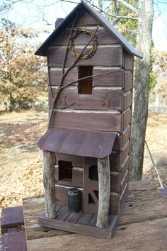 Primitive Lighted Tall Skinny Log Cabin w/ by GooseberryCreek