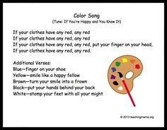 color week 10 Preschool Transitions-- Songs and Chants to Help Your Day Run Smoothly - Teaching Mama Kindergarten Songs, Preschool Music, Preschool Classroom, Preschool Learning, Teaching, Preschool Movement Songs, Preschool Fingerplays, Music Classroom, Transition Songs For Preschool