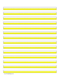 Highlighter paper with fourteen lines and yellow highlights in portrait… Kindergarten Writing, Kids Writing, Teaching Writing, Writing Paper, Writing Skills, Teaching Tools, Literacy, Homeschool Kindergarten, Teaching Handwriting