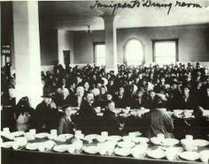 Immigrants dining room at Ellis Island.