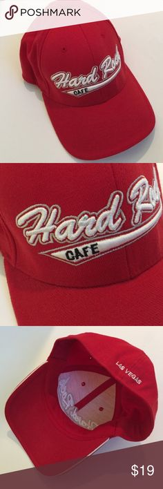Hard Rock Cafe Red Las Vegas Cap Red cap with white Hard Rock Cafe logo in front and Las Vegas logo in back. Back has some stretch to it. Size S/M. * Logo has a tiny stain - shown in second picture. Never worn. Hard Rock Cafe Accessories Hats