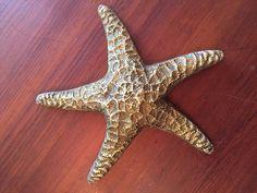HOLLYWOOD REGENCY VINTAGE HUGE BRASS STAR FISH STARFISH BEACH NAUTICAL DECOR