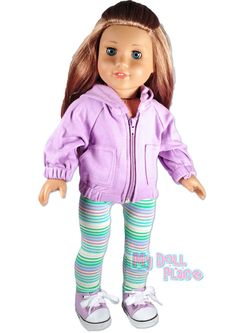 Purple Legging Outfit Hoodie Shoes Set fits 18
