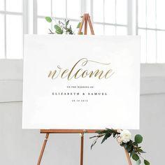 Welkom op onze bruiloft teken sjabloon afdrukbare welkom