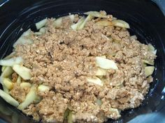 Crockpot Apple Crisp Recipe   6-8 medium baking apples (I like to use at least half granny smith for their tartness)  1 tsp lemon juice (from the container is just fine)  2/3 cup quick-cooking oats  2/3 cup flour  ½ tsp cinnamon  ¼ tsp nutmeg  ½ cup butter, softened
