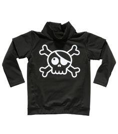 Nununu Black Skull Long Sleeved Rashie - from the SS15 range - online at www.alittlebitofcheek.com.au - Yes we ship internationally