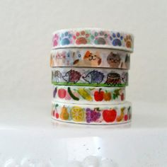 Die cut skinny washi tape - Paws - Cats - Hedgehogs - Vegetables - Fruit - Apples - Clouds - Bows - 24 inch washi sample - Washi sample set