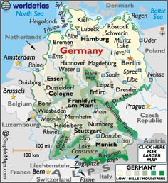 Map of Germany - You don't realize, until you live there, just how small the country of Germany is and how very close you are to so many other countries. We loved all of it!