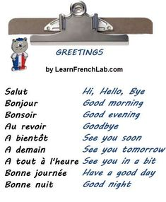 Learn English 352125264604842036 - Learn French Greetings with Audio in 3 easy steps + Greetings Video Song Source by Basic French Words, French Phrases, French Quotes, How To Speak French, Learn French, Learn English, English English, English Grammar, French Basics