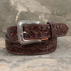 Men's Brown Tooled Acorn Belt by Nocona