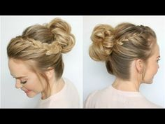 Double Lace Braid High Bun | Missy Sue - YouTube