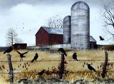 A flock of crows have gathered along a barbed wire fence near an old farm silo. Unframed open edition image size 16 x 12