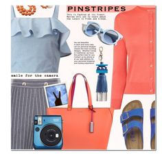 """""""Perfect Pinstripes"""" by anna-anica ❤ liked on Polyvore featuring L.K.Bennett, Miss Selfridge, Birkenstock, Polaroid, Calvin Klein, Pinko, Fujifilm and Anya Hindmarch"""
