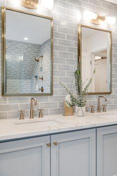 33 modern farmhouse master bathroom renovation with delta 14 Related Bathroom Kids, Bathroom Renos, Bathroom Layout, Bathroom Renovations, Small Bathroom, Bathroom Ideas White, Blue Bathroom Vanity, Bathroom With Tile Walls, Subway Tile Bathrooms