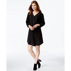 Eileen Fisher V-Neck Shift Dress ($178) ❤ liked on Polyvore featuring dresses, black, kohl dresses, v neckline dress, shift dress, black v neck dress and black vneck dress