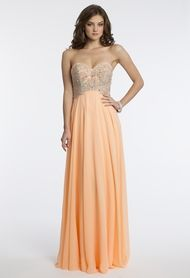 Chiffon Beaded Strapless Dress from Camille La Vie and Group USA