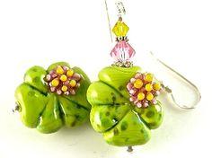 Green Flower Lampwork Glass Bead Earrings