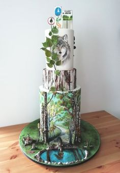 Forest by Andrea Incredible Wolf Cake Pretty Cakes, Cute Cakes, Beautiful Cakes, Amazing Cakes, Unique Cakes, Creative Cakes, Wolf Cake, Painted Cakes, Decorated Cakes