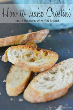 Ever wonder how to make crostini? It's super easy and takes under 1/2 hour. Turn any baguette into an elegant appetizer. www.thekitchengirl.com